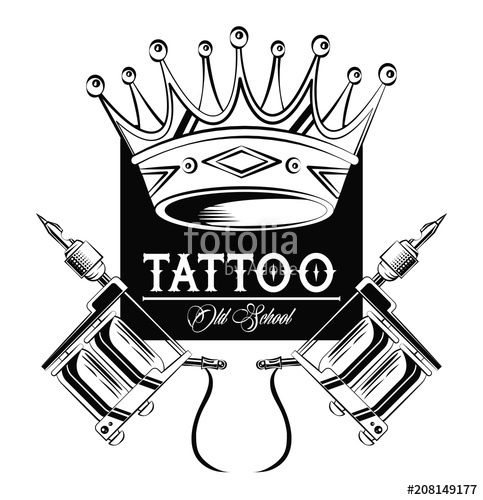 483x500 Old School Tattoo Machines And Crown Drawing Design Vector