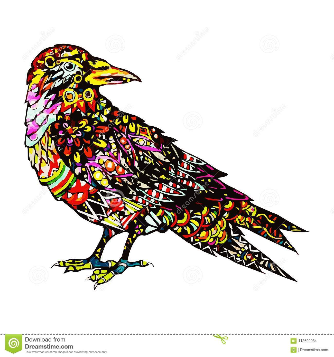 1300x1390 Hand Drawn Colorful Bird In Zentangle Style Crown Ornamental