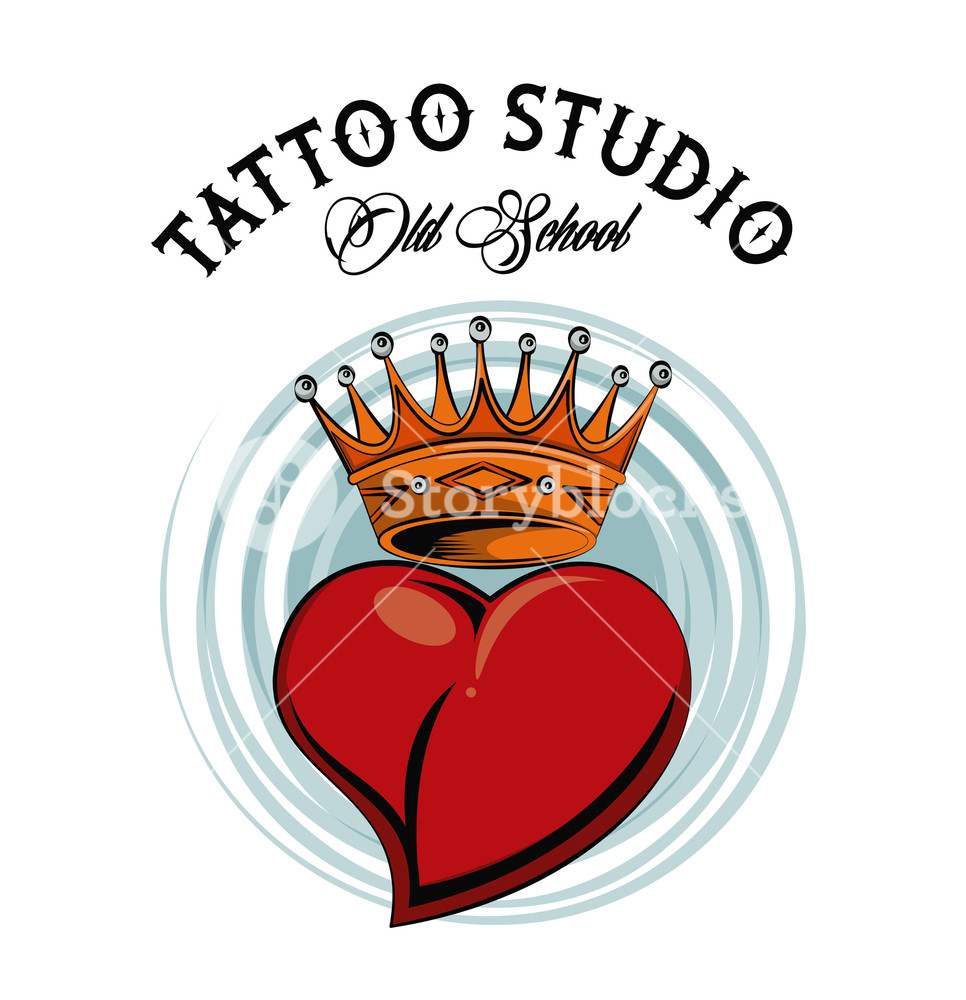966x1000 Old School Tattoo Heart With Crown Drawing Design Vector