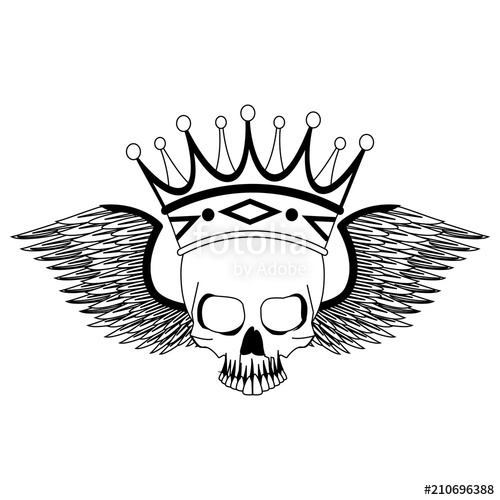 500x500 Tattoo Skull With Crown And Wings Drawing Vector Illustration