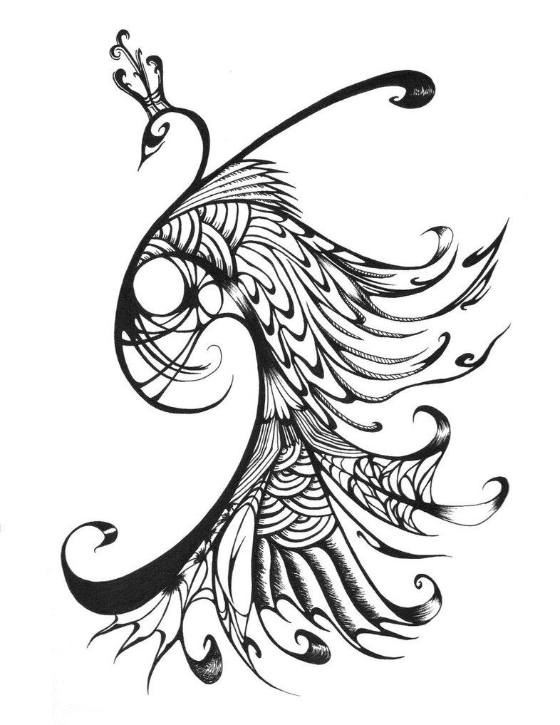 786x1017 Marvelous Tribal Peacock In Crown Tattoo Design