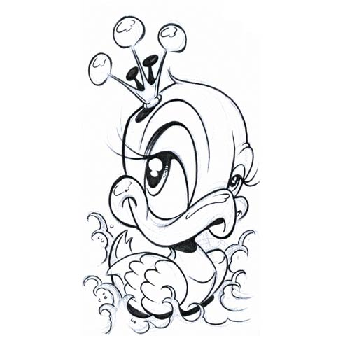 500x500 Outline Duck With Crown Tattoo Design