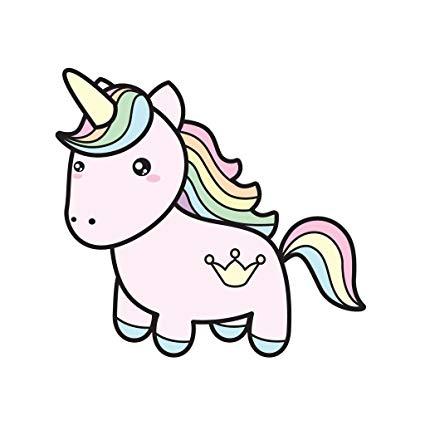 425x425 Rainbow Hair Cute Unicorn With Crown Tattoo