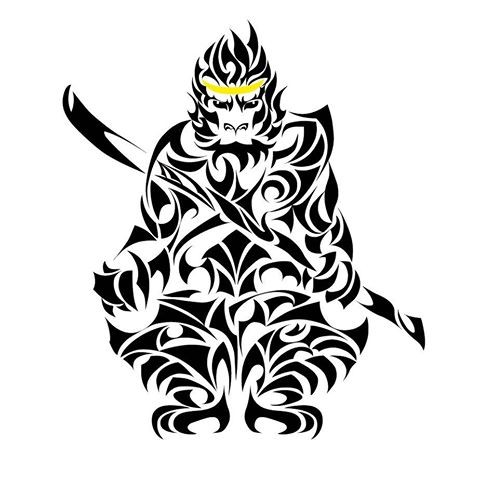 480x480 Tribal Monkey King In Golden Crown With Sword Tattoo Design
