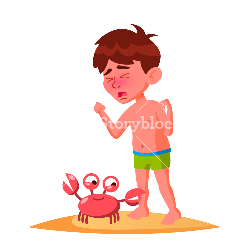 1000x1000 Crab Bit The Finger Of Crying Boy Vector Isolated Illustration