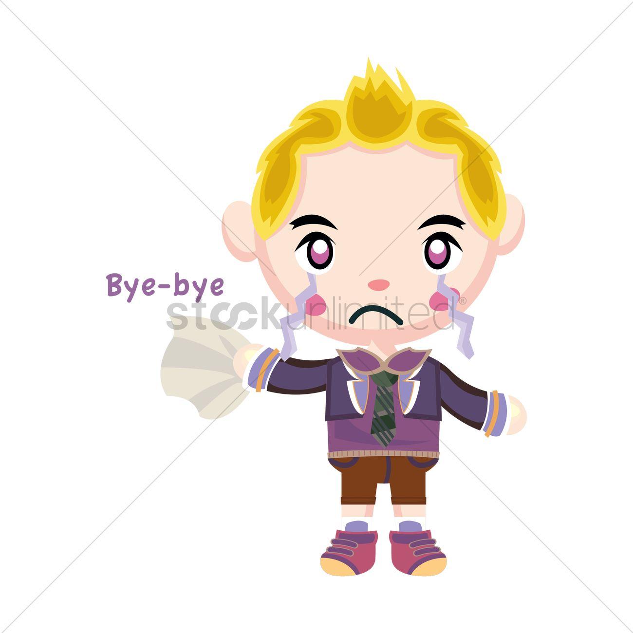 1300x1300 Crying Boy Saying Bye Vector Image