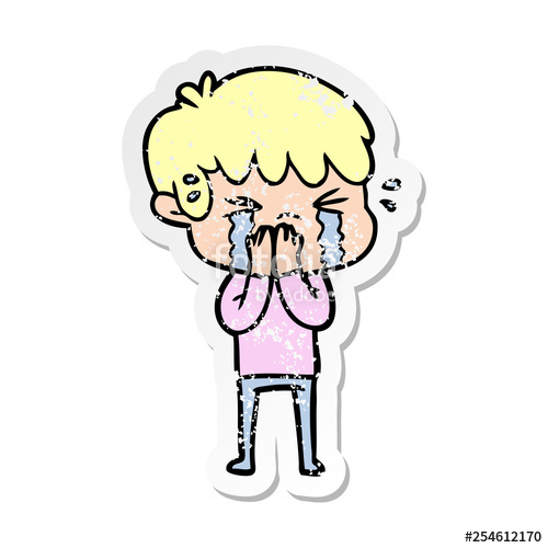 500x500 Distressed Sticker Of A Cartoon Boy Crying Stock Image