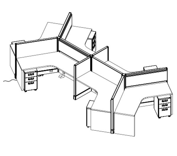 600x531 system typical pod straight cubicle system