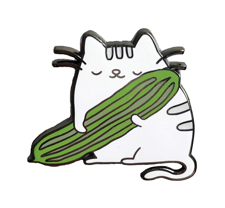 1500x1390 cat hugging cucumber enamel pin forbidden love pin