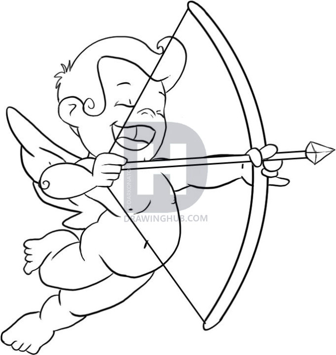 680x720 How To Draw Cupid, Step