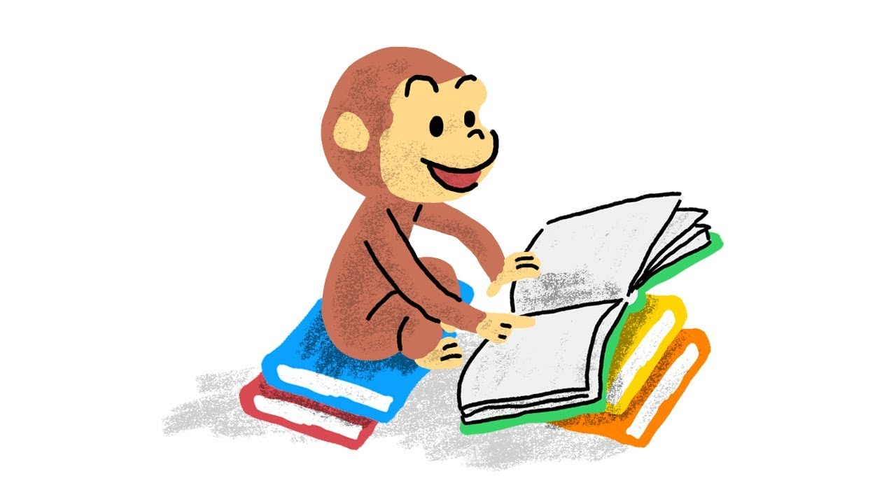 1280x720 Drawing Classic Curious George Scene