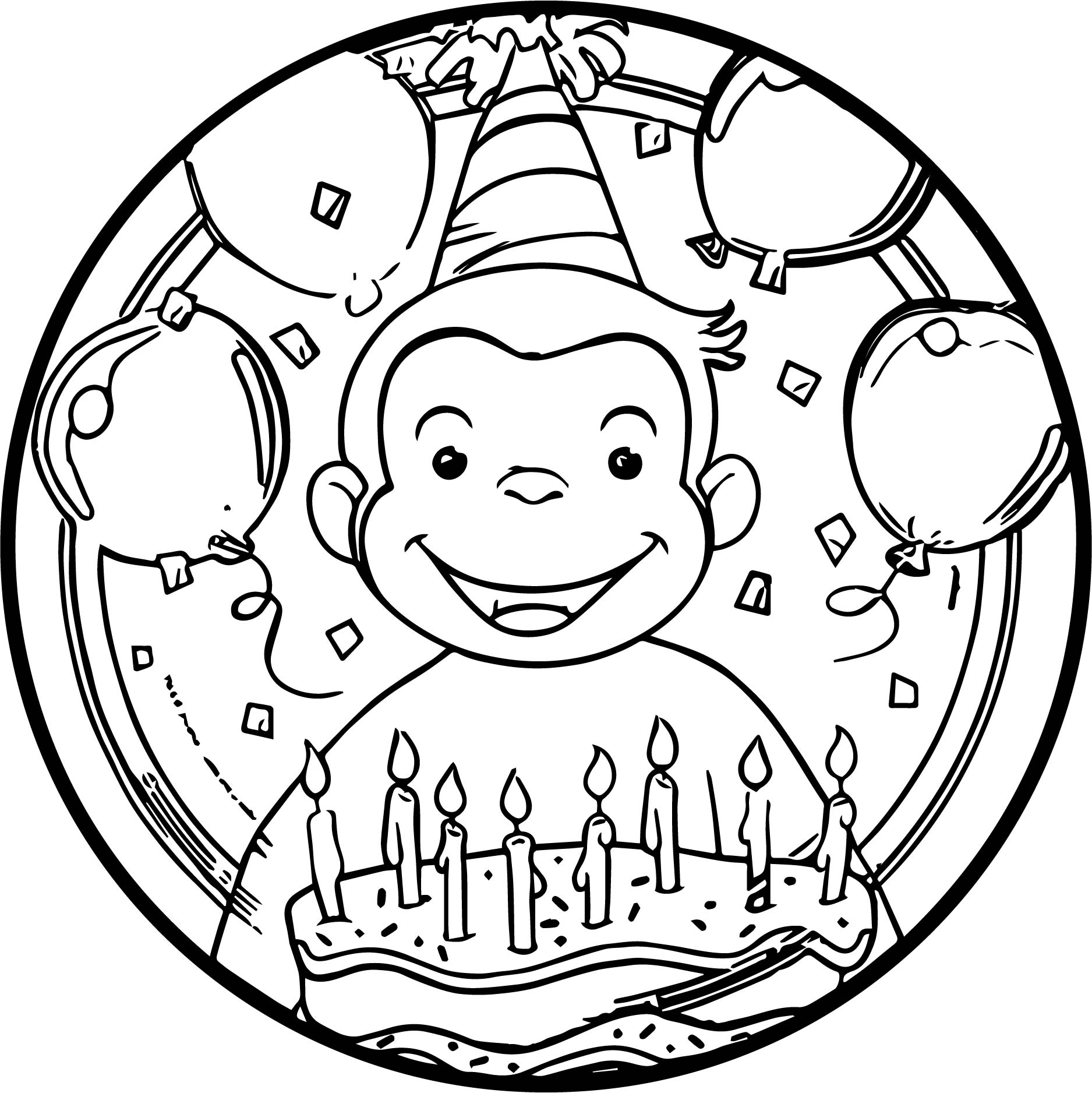 1875x1876 Curious George Lunch Plates Circle Coloring