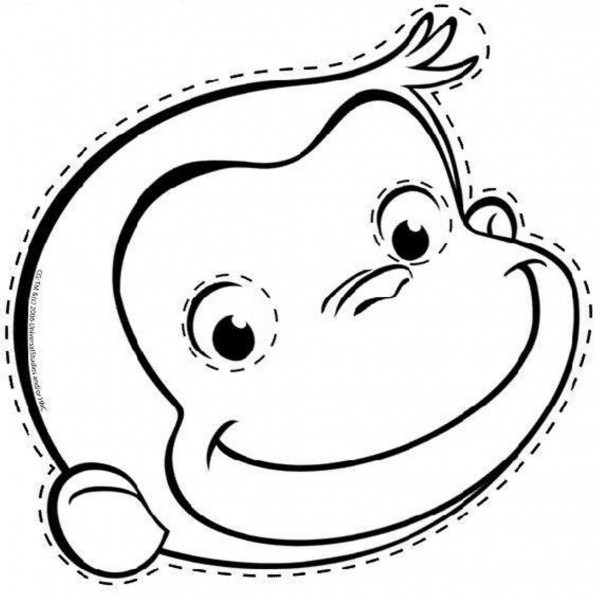 600x598 Curious George Outline