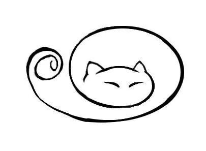 405x297 Curled Up Kitty Cat Monster Doodles Cat