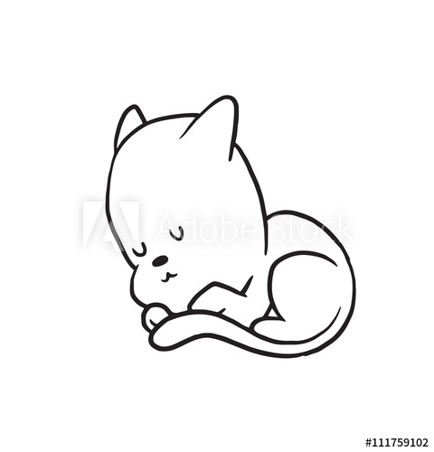 480x500 Vector Cartoon Image Of A Cute Little Black White Cat Sleeping