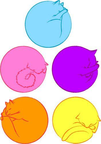 352x500 cats curled up sleeping cats cats, cat curling, cat art