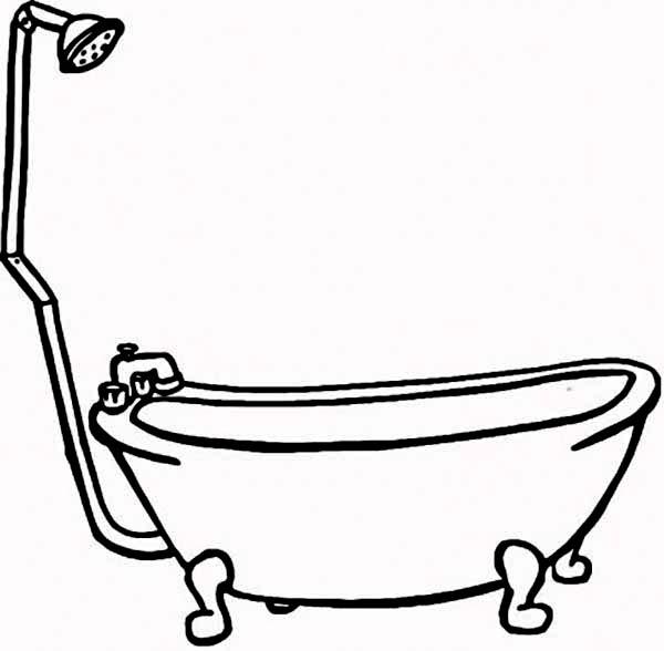 600x588 Bath Line Drawing Clipart Best X Bathtub