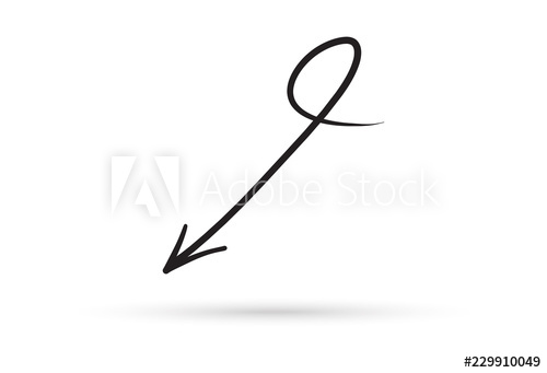 500x341 Curve Arrow Draw Doodle Brush Sketch Cartoon Isolated On White