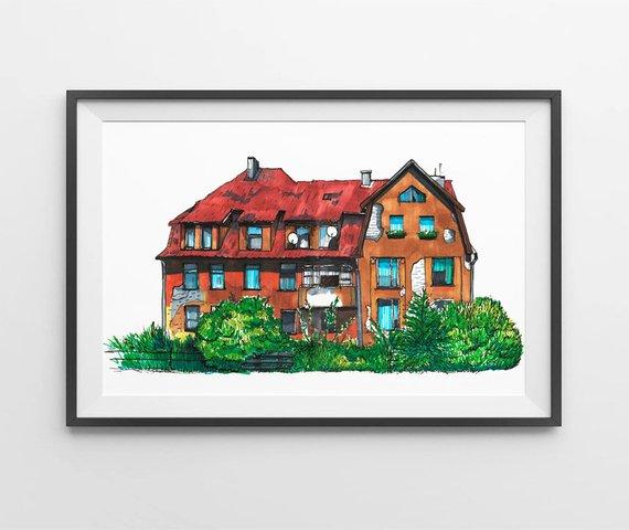 570x480 custom house portrait illustration house drawing family house