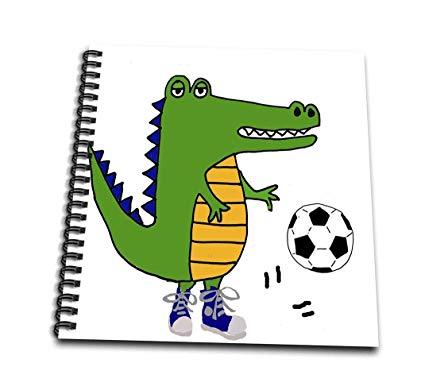 425x386 Funny Cute Alligator Playing Soccer Cartoon