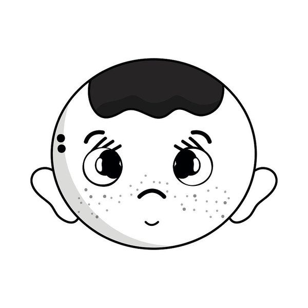 600x600 Contour Cute Baby Boy Head With Hairstyle Design Art Print
