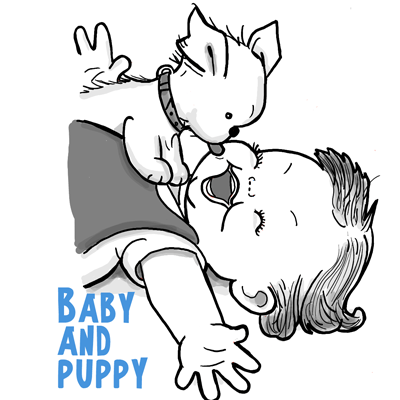 400x400 How To Draw A Cute Baby And Puppy Licking His Face Drawing