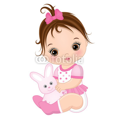 400x400 Vector Cute Baby Girl With Toy Bunny Buy Photos Ap Images