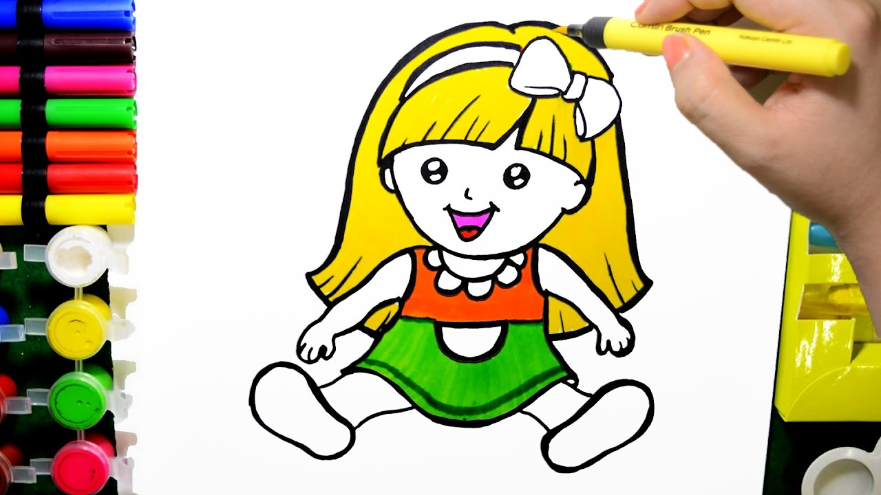 1280x720 How To Draw Color Paint Cute Baby Doll Coloring