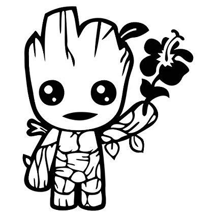 425x425 Cute Baby Groot Holding Flower