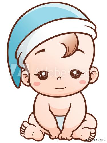 375x500 Vector Illustration Of Cartoon Cute Baby Sleepy