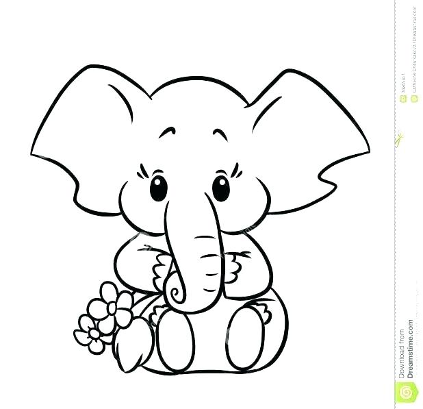618x597 Cute Baby Elephant For Coloring Book Pdf Elephants Coactions
