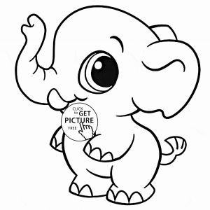 300x300 Lovely Cute Baby Elephant Coloring Pages