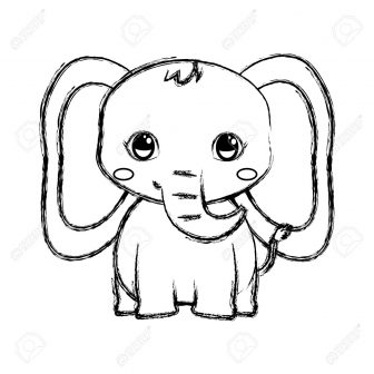 336x336 Cute Elephant Head Drawing Little Step Baby With Balloon