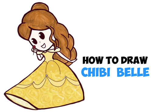 500x369 How To Draw Cute Baby Chibi Belle From Beauty And The Beast