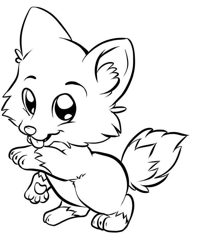 652x766 Cute Baby Fox Coloring Pages
