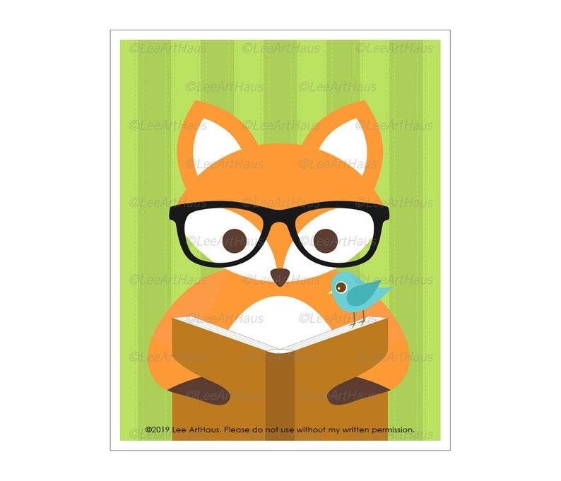 794x681 Fox Drawing Cute Fox Reading Book Wall Art Baby Fox Etsy