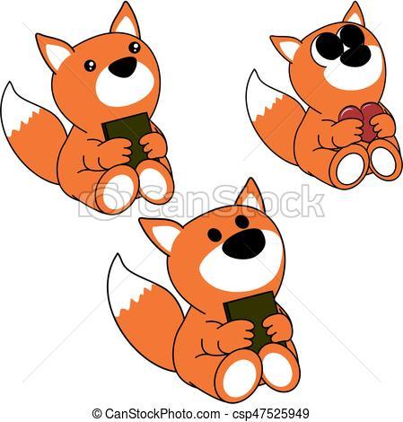 449x470 Lovely Cute Little Baby Fox Cartoon Set In Vector Format Very Easy