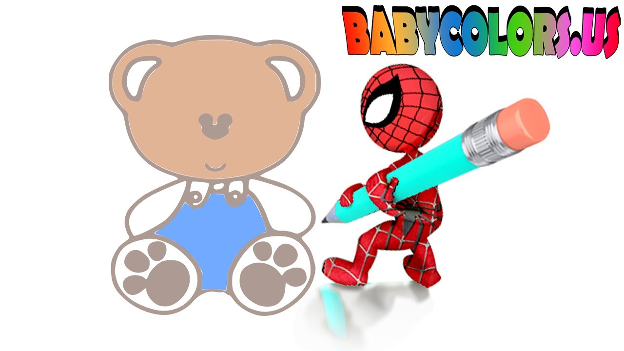 1280x720 Cute Simple Teddy Bear Drawing With Spider Man Pencil