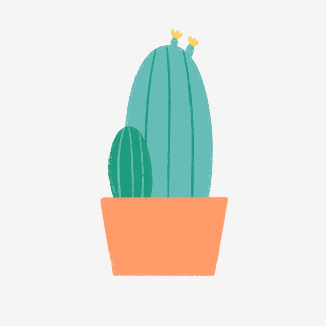 640x640 hand drawn cute big cactus in red pot, hand drawn, drawing, nature