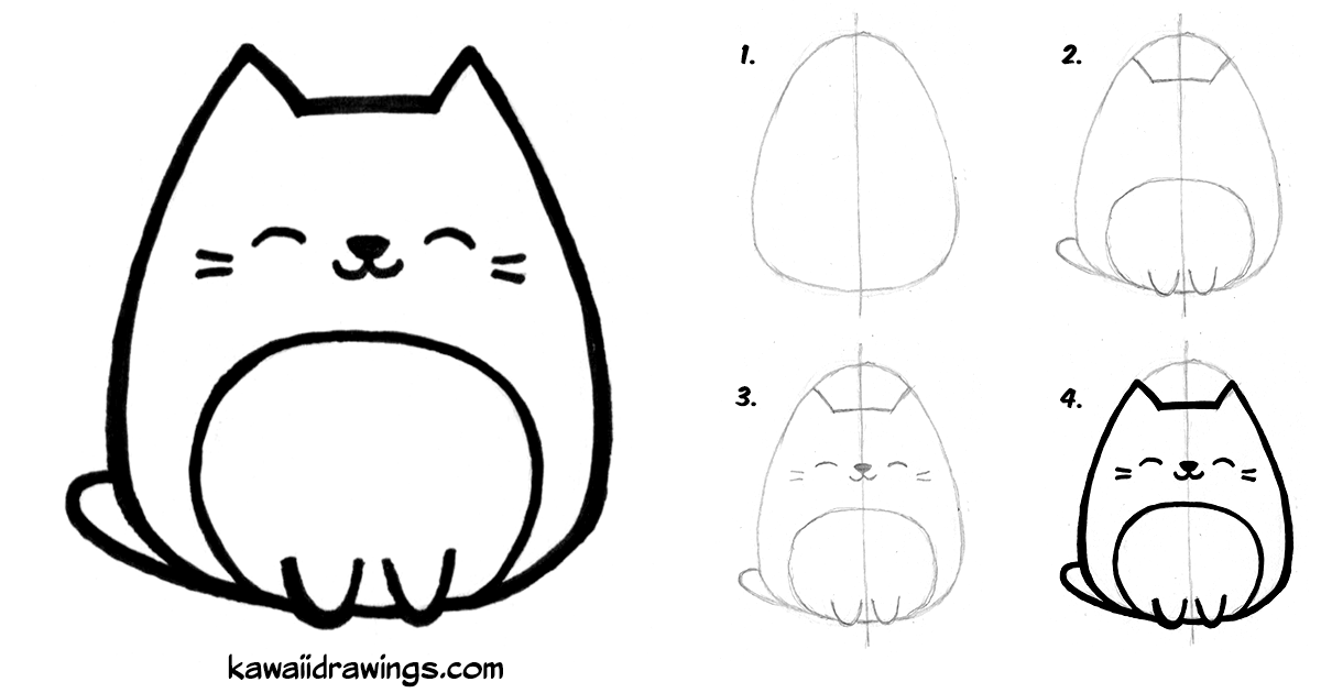 1200x630 How To Draw Kawaii Cat In Easy Steps Doodle In Easy