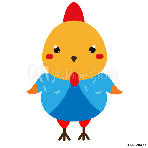 500x500 Cute Chicken Cartoon Kawaii Rooster Character Vector