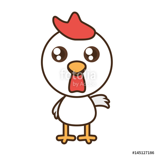 500x500 Cute Chicken Toy Kawaii Image Vector Illustration Stock