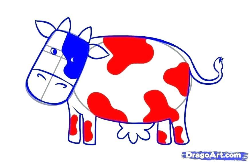 869x566 how to draw a cute cow how to draw a cute cartoon cow draw so cute