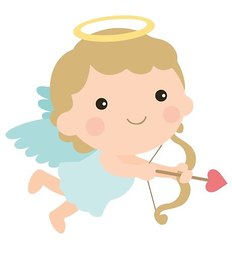 458x550 Cute Cupid Angel Halo Wings Bow Arrow Valentine Gift Posters