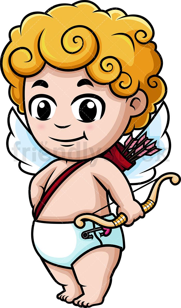 700x1194 Cute Cupid Holding Bow Cartoon Clipart Vector