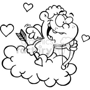300x300 Cute Cupid With Bow And Arrow In Cloud On A White Background