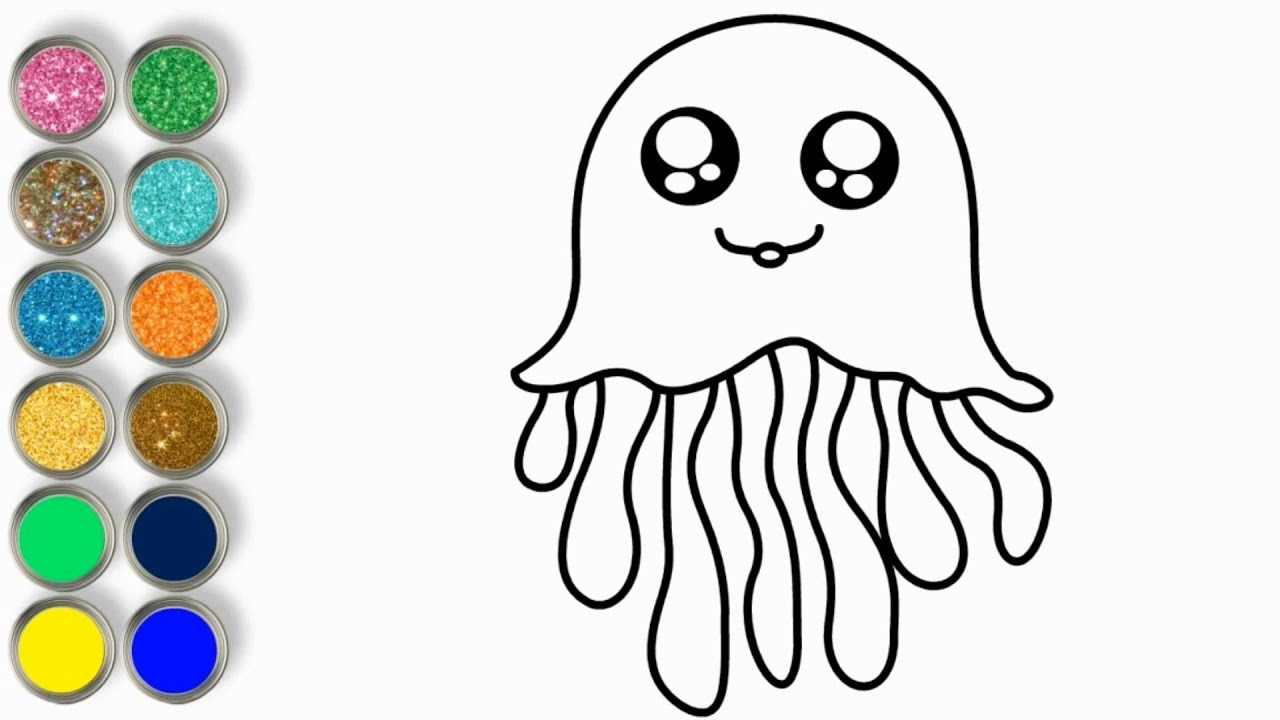 1280x720 Cute Jellyfish With Glitter Video For Kids Drawing
