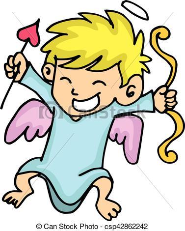 377x470 Cute Cupid With Arrow Cartoon Vector Illustration Vector