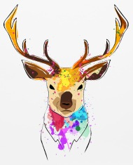 190x235 Cute Hand Draw Deer With Color Splashes Mouse Pad Spreadshirt