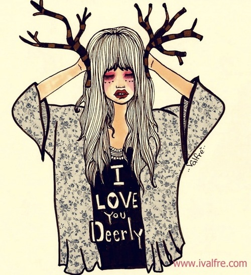 500x547 Art, Cute, Deer, Drawing, Girl